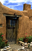 Entrance Door Art - Santa Fe Canyon  road by Elena Nosyreva