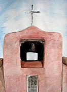 Watercolor Southwest Landscape Paintings - Santa Fe Church by K Hoover
