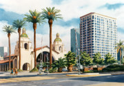 Railroads Painting Framed Prints - Santa Fe Depot San Diego Framed Print by Mary Helmreich
