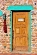 Blue Brick Mixed Media Prints - Santa Fe Doorway Print by Renee Skiba