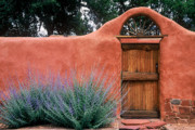 Adobe Framed Prints - Santa Fe Gate No. 2 - rustic adobe antique door home country  Framed Print by Jon Holiday