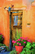 Entrance Door Mixed Media Prints - Santa Fe Print by Jerry L Barrett