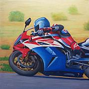 Motorcycle Painting Posters - Santa Fe Rush - Honda CBR1000 Poster by Brian  Commerford