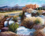 Adobe Buildings Pastels Posters - Santa Fe Spring Poster by Candy Mayer