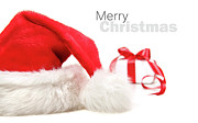 Christmas Greeting Posters - Santa hat and gift with red bow Poster by Sandra Cunningham