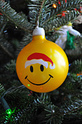 Smiley Face Posters - Santa Hat Poster by Luke Moore