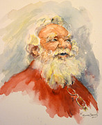 Father Christmas Prints - Santa is That You Print by P Maure Bausch