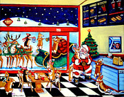 Santa Claus Posters - Santa makes a pit stop Poster by Lyn Cook