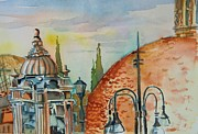 Lamps Mixed Media Posters - Santa Maria del Populo Rooftops Poster by Mindy Newman
