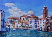 Canal Painting Originals - Santa Maria della Salute  Venice by John Clark