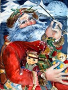 Stars Drawings Posters - Santa Poster by Mindy Newman