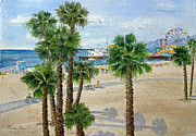 Santa Monica Paintings - Santa Monica Beach and Pier by Bonnie Sue Schwartz
