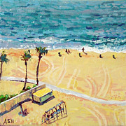 Santa Monica Paintings - Santa Monica Beach No. 2 by Aubrey Studebaker