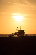 Sand Stand Framed Prints - Santa Monica California Sunset Photo Framed Print by Paul Velgos