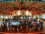 Amusement Ride Framed Prints - Santa Monica Carousel 003 Framed Print by Lance Vaughn
