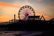 Santa Monica Posters - Santa Monica Pier Ferris Wheel Sunset Poster by Paul Velgos