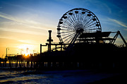 Roller Coaster Photos - Santa Monica Pier Ferris Wheel Sunset Southern California by Paul Velgos