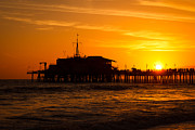 Monica Metal Prints - Santa Monica Pier Sunset Metal Print by Paul Velgos