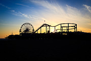 Santa Monica Posters - Santa Monica Pier Sunset Photo Poster by Paul Velgos