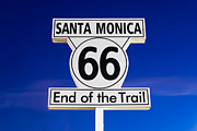 Santa Monica Posters - Santa Monica Route 66 Sign Poster by Paul Velgos