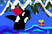Orca Digital Art - Santa Orca by Dawna Raven Sky