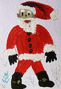 Santa Claus Drawings Posters - Santa Red by MCW Poster by Mary Carol Williams