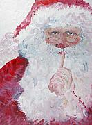 Santa Claus Paintings - Santa Shhhh by Nadine Rippelmeyer
