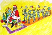 Santa Claus Drawings Posters - Santa wish list - 2006 Poster by Charles M Williams