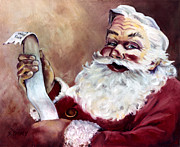 Claus Posters - Santa with a List Poster by Sheila Kinsey