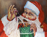 Santa Claus Paintings - Santa with Stocking by Sheila Kinsey