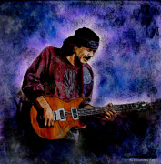Music Art Glass Art - Santana by Betta Artusi
