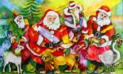 Santa Claus Paintings - Santas by Claire Sallenger Martin
