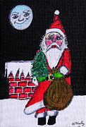 Man In The Moon Paintings - Santas Friend by Gordon Wendling