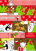 Rudolph Digital Art Prints - Santas Helpers Print by Fluffy Feelings