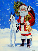Great Dane Portrait Posters - Santas Helpers Poster by Lyn Cook