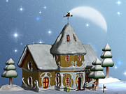 Christmas Cards Digital Art - Santas House by Corey Ford
