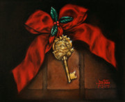 Red Bow Framed Prints - Santas Key Framed Print by Debi Frueh