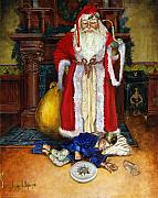 Old World Prints - Santas Littlest Helper Print by Jeff Brimley