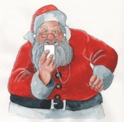 Santa Claus Paintings - Santas new Ipod by Don Pedicini