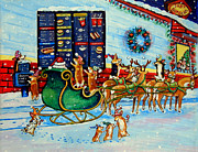 Fast Food Paintings - Santas Pit Stop on  December 24th by Lyn Cook