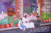 Cuba Pastels Framed Prints - Santera in the cathedral square in Havana Framed Print by Elena Malec