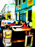 Άγιος Νικόλαος Metal Prints - Santiago Fruit Stalls Metal Print by Funkpix Photo Hunter