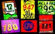 Chile Framed Prints - Santiago Street Numbers Framed Print by Funkpix Photo Hunter
