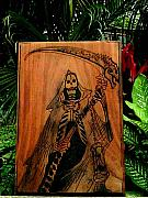 Red Reliefs Posters - Santisima Muerte Poster by Calixto Gonzalez