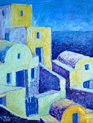 Villa Paintings - Santorini Architecture by Ana Maria Edulescu