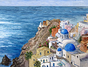 Greece Painting Originals - Santorini by Bonnie Sue Schwartz