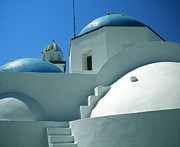 Church Mixed Media - Santorini Church Greece by Colette Hera  Guggenheim