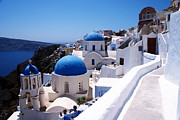 Domes Photo Prints - Santorini churches Print by Paul Cowan