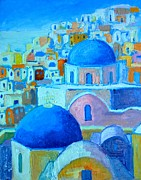 Traditional Doors Painting Framed Prints - Santorini Cityscape 2 Framed Print by Ana Maria Edulescu