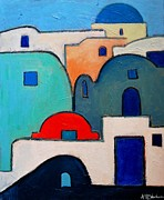 Abstract Composition Paintings - Santorini Cityscape by Ana Maria Edulescu
